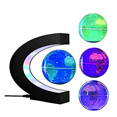 FUZADEL Multi-Color Changing Levitating Globe Magnetic Levitation Floating Globe World Map Educational Gifts for Teens / Adult / Seniors Home / Office Desk Decoration Ornament by FUZADEL