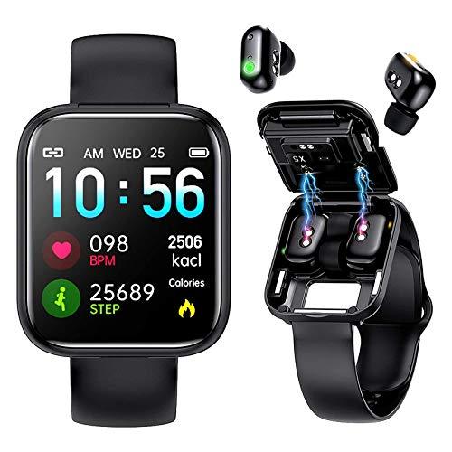 Reloj inteligente con auriculares Bluetooth, auriculares inalámbricos, rastreador de ejercicios, reloj 2 en 1, pulsera deportiva impermeable Ip67 con música para dormir, monitor de frecuencia cardíaca