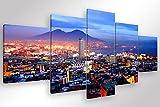 Degona Quadro Moderno Napoli GOLFO - 5 pz. cm 200x90 Stampa su Tela Canvas Arredamento Arte Arredo Vesuvio XXL