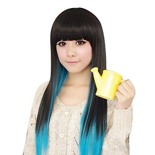 68cm/26 Bleu Noir Mixtes Ombre Perruque Synthetique Long Droite Harajuku/Lolita Style