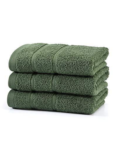 myHomery Handtuch Set bestehend aus Gästehandtücher, Duschtuch, Saunatuch und Badetuch - Saunahandtuch XXL - Handtücher Moosgrün | 3er-Set Handtuch