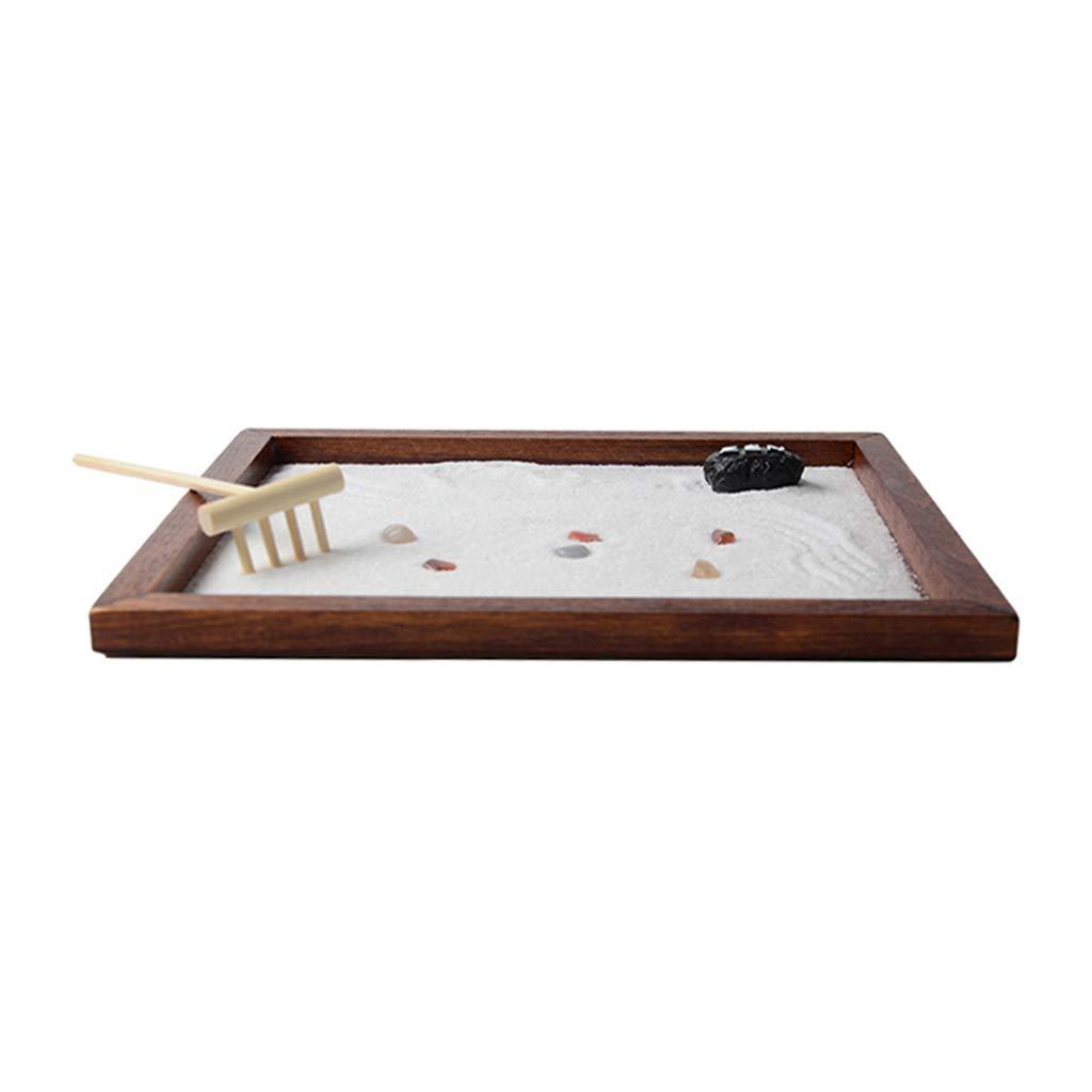 LOVIVER Mini Bandeja De Jardín De 8.5x6.9 con Figuras Sandbox De Madera para Meditación De Escritorio: Amazon.es: Hogar