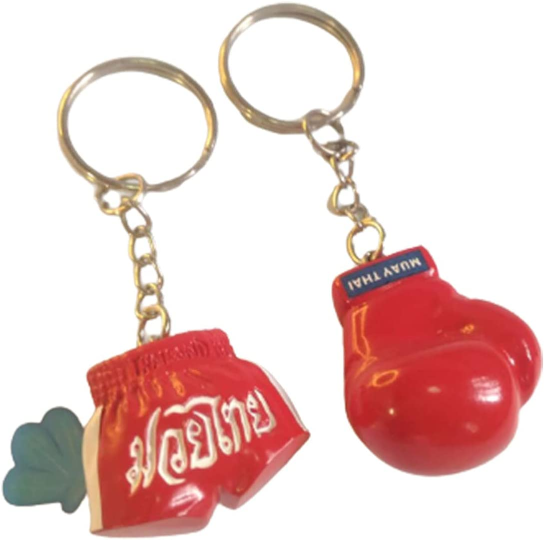 Honeybeloved 1set 2 Pcs Key Chain Boxing Pants for Men Glove Keychain Bulk Holder Small Fashion Bag Car Motorcycle Home Office Amazing Gifts Gloves Charm Keyring Inspirational Gifts for Sports(Red)