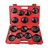 GOTOTOP 15PCS Universal Kit de Llave de Filtro de Aceite Set de Herramientas de Cambio de Filtro de Aceite