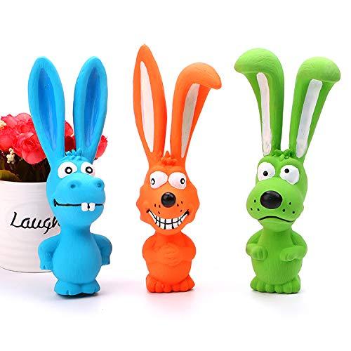 Colorful Bunny Dog Toys (Latex) (Orange)