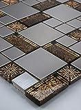 mosaico de azulejos de mosaico Acero Inoxidable Oro Marrón getönten Negro Plata 15x 15cm