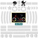 Dzsee Adesivi Riflettenti 42 Pezzi, Nastro Catarifrangente, Adesivo Riflettente Notte per Ciclismo, Casco, Carrozzina, Passeggino, Auto Moto, Biciclette, Fortemente Riflettente Alta Visibilità(bianco)