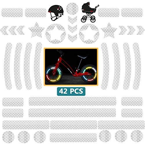 DZSEE Reflektoren Aufkleber - 42 Stück Reflektierende Aufkleber, Reflektoraufkleber Set für Kinderwagen, Fahrrad und Helme - Selbstklebende Reflektor Leuchtaufkleber Sticker