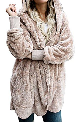 Zilcremo Mujer Lana Chaqueta Cárdigan con Capucha Frente Abierto Abrigo Fleece de Piel Sintética Invierno Albaricoque XL