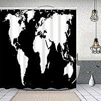 シャワーカーテン黒と白の世界地図 防水 目隠し 速乾 高級 ポリエステル生地 遮像 浴室 バスカーテン お風呂カーテン 間仕切りリング付のシャワーカーテン 180 x 180cm