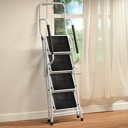 LivingSURE Folding 4-Step Safety Ladder – Padded Side Handrails – Kitchen and Household Use – White