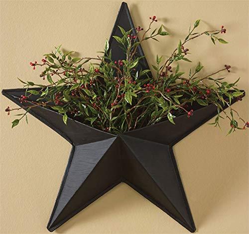 """14"""" Black Western Star Wall Pocket Decoration"""