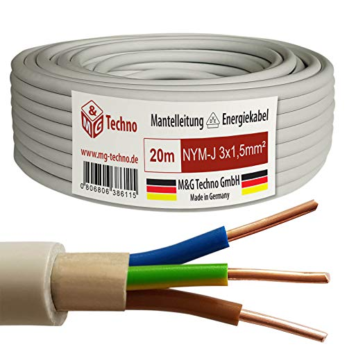 M&G Techno 20m NYM-J 3x1,5 mmІ Mantelleitung Feuchtraumkabel Elektrokabel Kupfer Made in Germany, grau, 10385