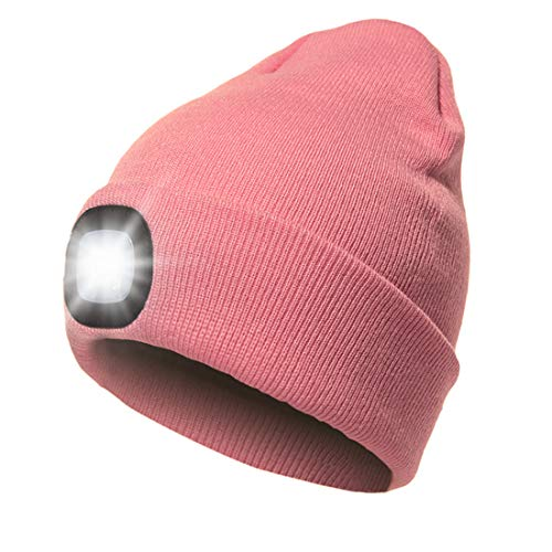 Hat with Light, USB Rechargeable LED Beanie hat, Winter Warm Gifts for Men Dad Him Women Her, Unisex Lighted Headlamp Cap for Walking at Night,Biking,Fishing,Camping,Hunting