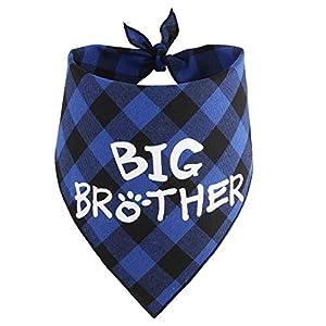 JPB Big Brother Dog Bandana,Buffalo Plaid Pet Pregnancy Announcement Scarf