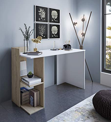 Home Heavenly - Escritorio, Mesa despacho, Oficina Tokyo Estilo Minimalista, Industrial, Mueble multifunción 2 en 1 con cómoda estantería y Amplia Mesa de Trabajo fabricación Europea (Blanco)