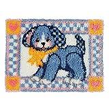 Kit de Ganchillo, Alfombras Kit Bordado Punto de Cruz Sin Terminar, Alfombra de Hilo Cojín Bordado Decoración del Hogar, 52 x 38 cm (Color : Puppies Blue)