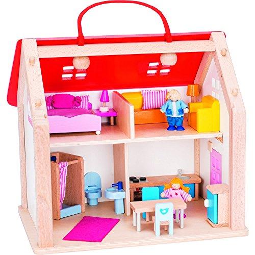 Goki 51780 Koffer Puppenhaus mit Zubehör, gemischt