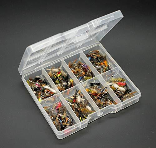 25 100 oder 204 x gemischte Fliegen Fliegen Fliegenfischen Forellenfischen 10 50 Lakeland Fishing Supplies wasserdichte Fliegenbox