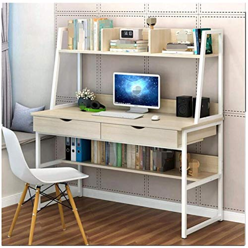 Nibokdis Computer Desk, Writing Desk with 2 Drawers, Industrial Office Writing Desk with Bookshelf and Hutch, Laptop Notebook Desk Study Table, Space Saving Workstation Desk for Home Office