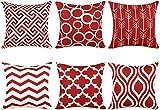 TIDWIACE Juego 6 Rojo Fundas de Cojín, Funda de Almohada Lino de algodón Decorativa Geometría Moderna Funda de Cojín 45x45cm para Sala de Estar sofás Camas sillas Dormitorio Jardín Coche