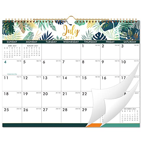 2021-2022 Calendar - 18 Monthly Wall Calendar with Thick Paper, 14.6' x 11.5', Jul. 2021 - Dec. 2022, Twin-Wire Binding + Hanging Hook + Unruled Blocks with Julian Date, Horizontal - Leaf