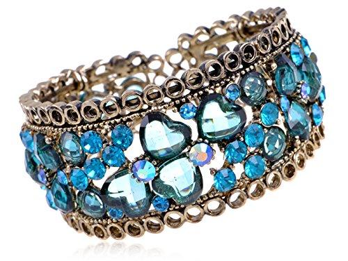 Alilang–latón tono antiguo azul brillantes corazones pulsera