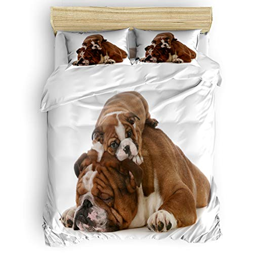 Lazone Beding Collection Duvet Cover Sets with Zipper Closure,Cute French Bulldogs Animal Pattern Bed Sheet Set,Include 1 Duvet Cover 1 Bed Sheets 2 Pillow Shams Full Size