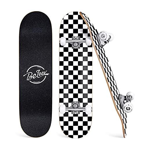 BELEEV Skateboard 31x8 Zoll Komplette Cruiser Skateboard für Kinder Mädchen Erwachsene, 7-Lagiger Kanadischer Ahorn Double Kick Deck Concave für Anfänger (Schwarz Weiß)