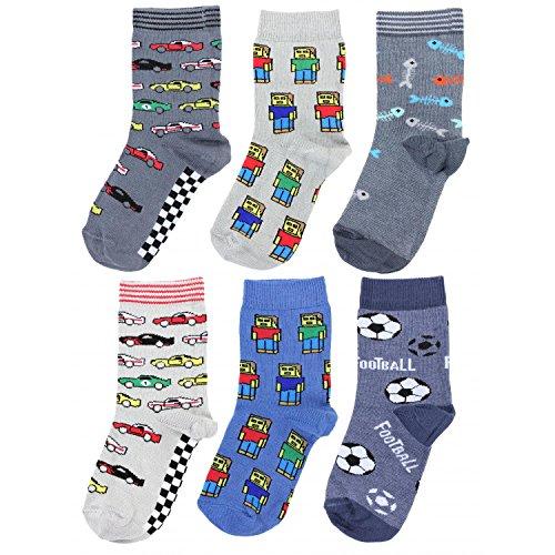 TupTam Kinder Unisex Socken Bunt Gemustert 6er Pack, Farbe: Junge 5, Socken Größe: 23-26