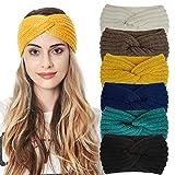 Turban Headband for Women Warm Crocheted Headwrap HairAccessories (one size, white/yellow/navy/green/black/brown)