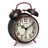 Peakeep Retro 4 inches Battery Operated Twin Bell Loud Alarm Clock (Black with Arabic)
