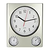 Poolmaster 52602 Indoor and Outdoor Clock, Thermometer, Hygrometer, Silver