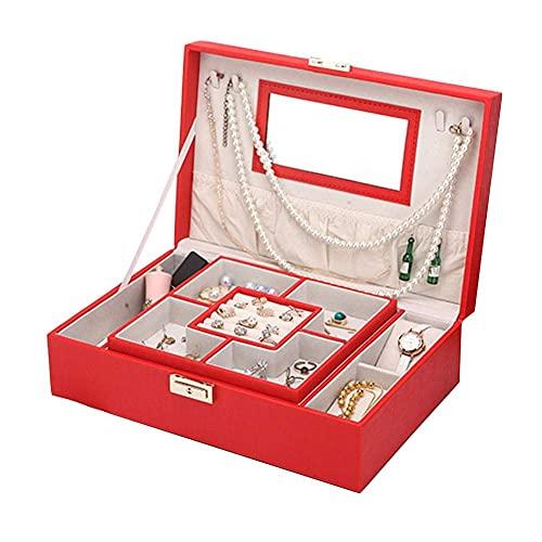 Bella Caja de joyería caja de almacenamiento organizador de cuero de cuero regalo de la boda de la princesa de la princesa de la boda de la niña grande con la cerradura del reloj de la pulsera del col