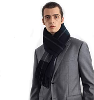 MUZIWENJU Cashmere-Blend Scarf, Men's Winter Double-Sided Thickening Scarf, Business Scarf, The Best Choice for Friends and Relatives (Color : Blue)