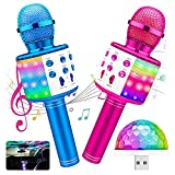 2Pack Karaoke Microphone,Icnice Handheld Mic for Adults Singing with HiFi Speaker and Flashing Disco Light Wireless Karaoke Mic for Home Car Party Bluetooth Mic Compatible with TV/iPhone/Android/PC