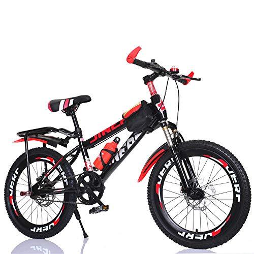 Bicicleta De Montaña para Adultos, Bicicleta De Ciudad De 7 Velocidades con Frenos De Disco Doble, Marco De Acero Al Carbono, Amortiguador, Campana, Marco del Asiento Trasero 24inch Red