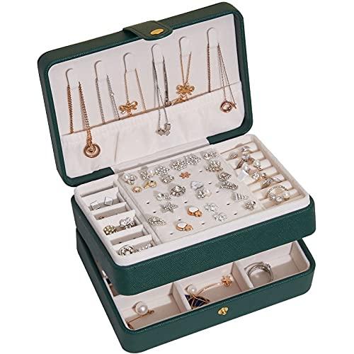 FACHA Caja de joyería unisex de gran capacidad de piel sintética para almacenar joyas (color: verde, tamaño: 17 x 12 x 8 cm)