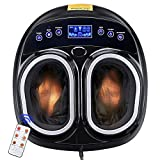 AW Shiatsu Foot Massager Machine Rolling Deep Kneading Air Pressure Heating Machine with Remote Personal Home Health Care Adjustable Intensities for Father's Day Gift