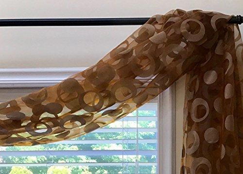 CurtainCityNewYork NY Geometry Voile Sheer Window Scarf 6 Yards Sheer Window Valance (Brown, 216L X 50W)