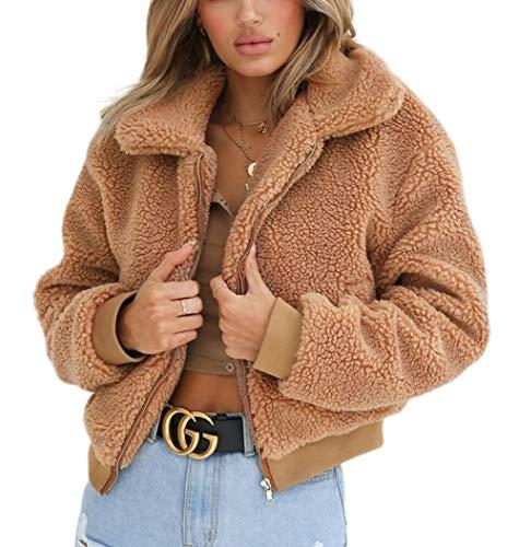 Carolilly Damen Teddy-Fleece Jacke mit Taschen Warm Plüsch Mantel Hoodie Sweatshirt Outwear (M, Kaffee)