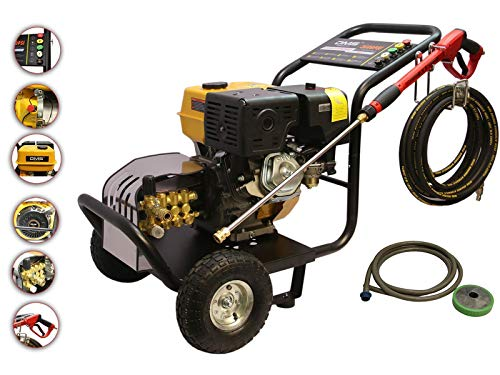 DMS® 248 bar Profi Benzin Industrie Hochdruckreiniger Autowaschanlage Druckwasserpumpe Waschmaschine 5 Düsen 18 L/min 13 PS 8m Hochdruckschlauch 3400 RPM 3600 PSI HRI-1