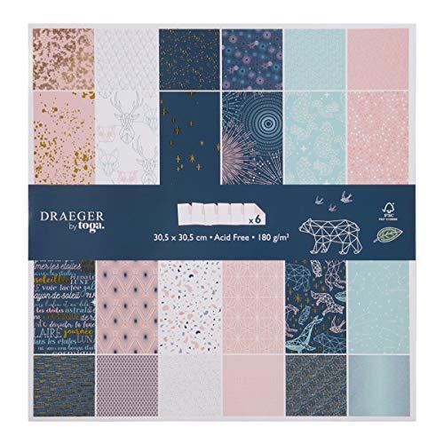 Toga Papel Scrapbooking, Azul Noche Y Rosa Pastel, 30,5 x 30,5 cm