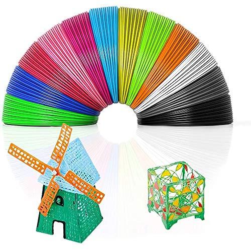 3D Pen Filament Refills PLA ,3D Drawing Printing Pen Filaments, 1.75mm PLA, 3D Printer Filament (10 Colors, Each Color 16.4ft,Total 164ft)