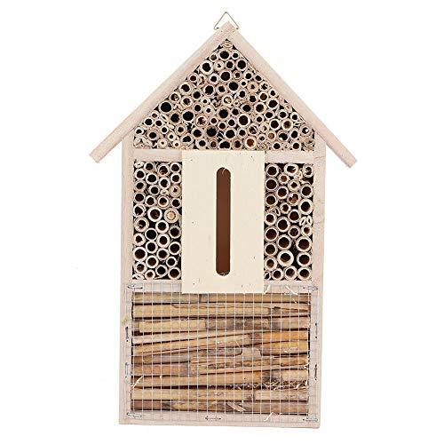 Liineparalle Bienenhaus - Holzinsekt Bienenhaus Schutz Garten Nistkasten Kunsthandwerk Außenverzierung - Zieht friedliche Bienenbestäuber an, um die Produktivität Ihres Gartens zu steigern