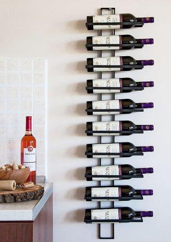 DanDiBo Weinregal Flaschenregal Metall Schwarz Wand Dies 116 cm für 10 Flaschen Flaschenständer Flaschenhalter