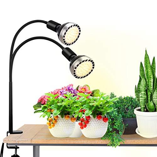 Bozily 300W Pflanzenlampe, Vollspektrum LED Wachstumslampe Grow Lampe für Zimmerpflanzen, 4 Dimmbare Sonnenähnliche Pflanzenlichter, 2 Austauschbare Glühbirnen, Künstliche Sonnenlichtlampe