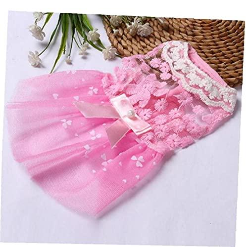 Ruluti 1pc Hundekleid Hochzeit Hunde-Bekleidung Für Kleine Hunde Hundekleidung Welpen Röcke Tulle Katze Kleider Yorkies Chihuahua Kleidung, Rosa, Größe M