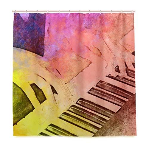 DYCBNESS Duschvorhang,Schöne Frau, die Klavier Tastatur auf spielt,Vorhang Waschbar Langhaltig Hochwertig Bad Vorhang Polyester Stoff Wasserdichtes Design,mit Haken 180x180cm