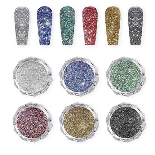 Freeorr 6 Farben Crystal Diamond Nail Powder,Glitzer- Staub Nagel Pulver Chrom Glänzendes Nagelpulver Glitters Nagelpigment Shiny Laser Maniküre Dekorationspulver